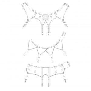 Suspender belt pattern pack technical illustration. The Underpinnings Museum