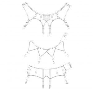 Suspender belt pattern pack technical illustration. The Underpinnings Museum