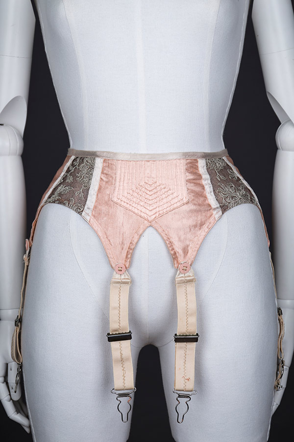 Quilted satin and embroidered tulle suspender belt Photography by Tigz Rice Studios The Underpinnings Museum