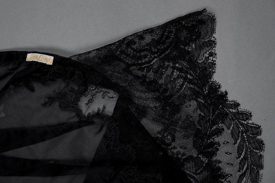 Sheer nylon and lace appliqué tap pants by Juel Park. Photography by Tigz Rice Studios. The Underpinnings Museum.