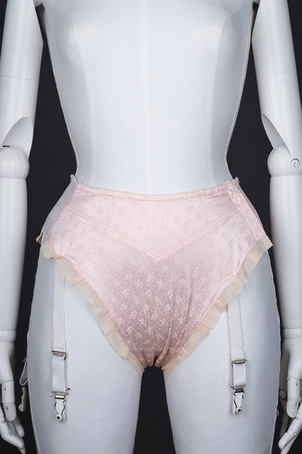 Jacquard weave high-leg suspender knickers by Mondaine - front view. Photography by Tigz Rice Studios