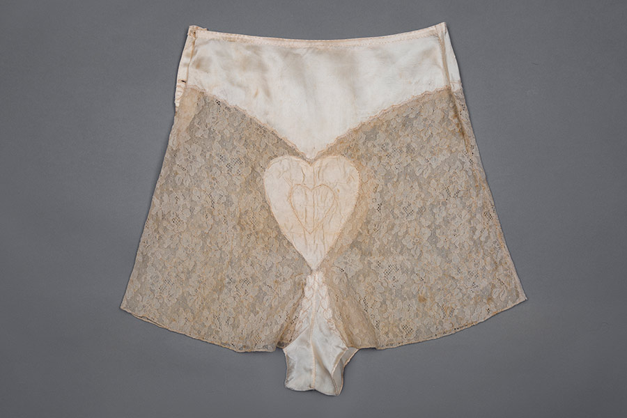 Satin and lace heart embroidery tap pants Photography by Tigz Rice Studios The Underpinnings Museum