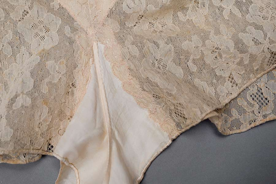 Satin and lace heart embroidery tap pants. Photography by Tigz Rice Studios. The Underpinnings Museum