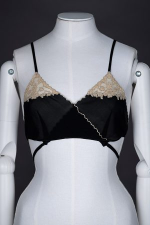 Kestos-style black silk and lace bralet - front view. Photography by Tigz Rice Studios