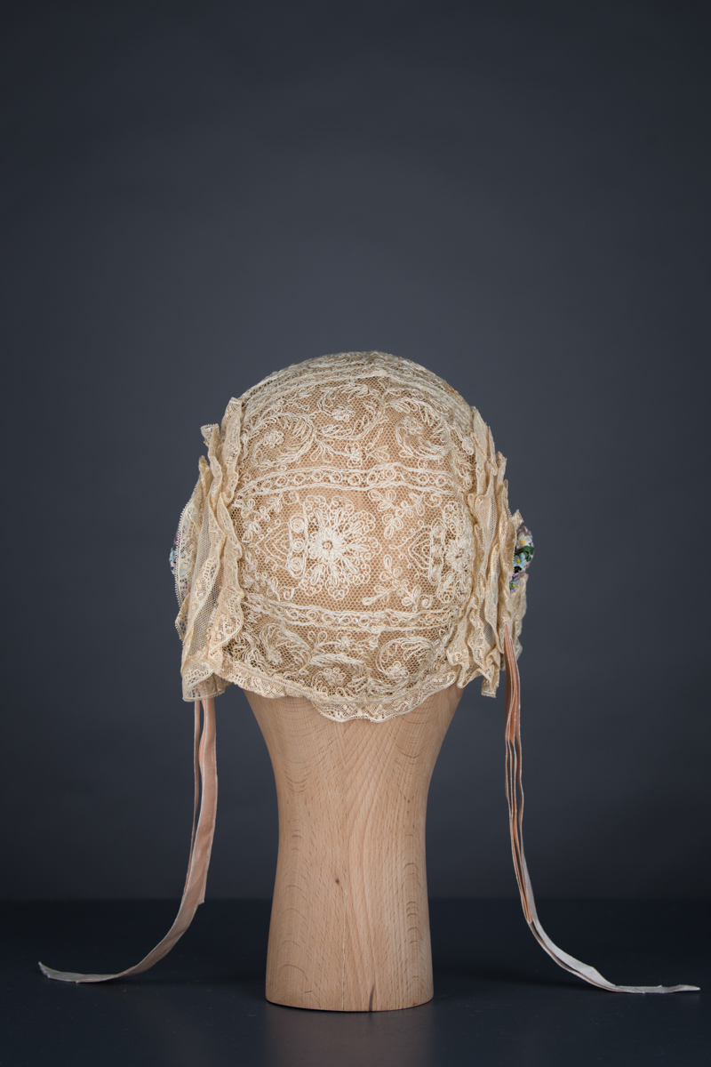 Lace ruffle boudoir cap, c.1920s, USA. The Underpinnings Museum. Photography by Tigz Rice