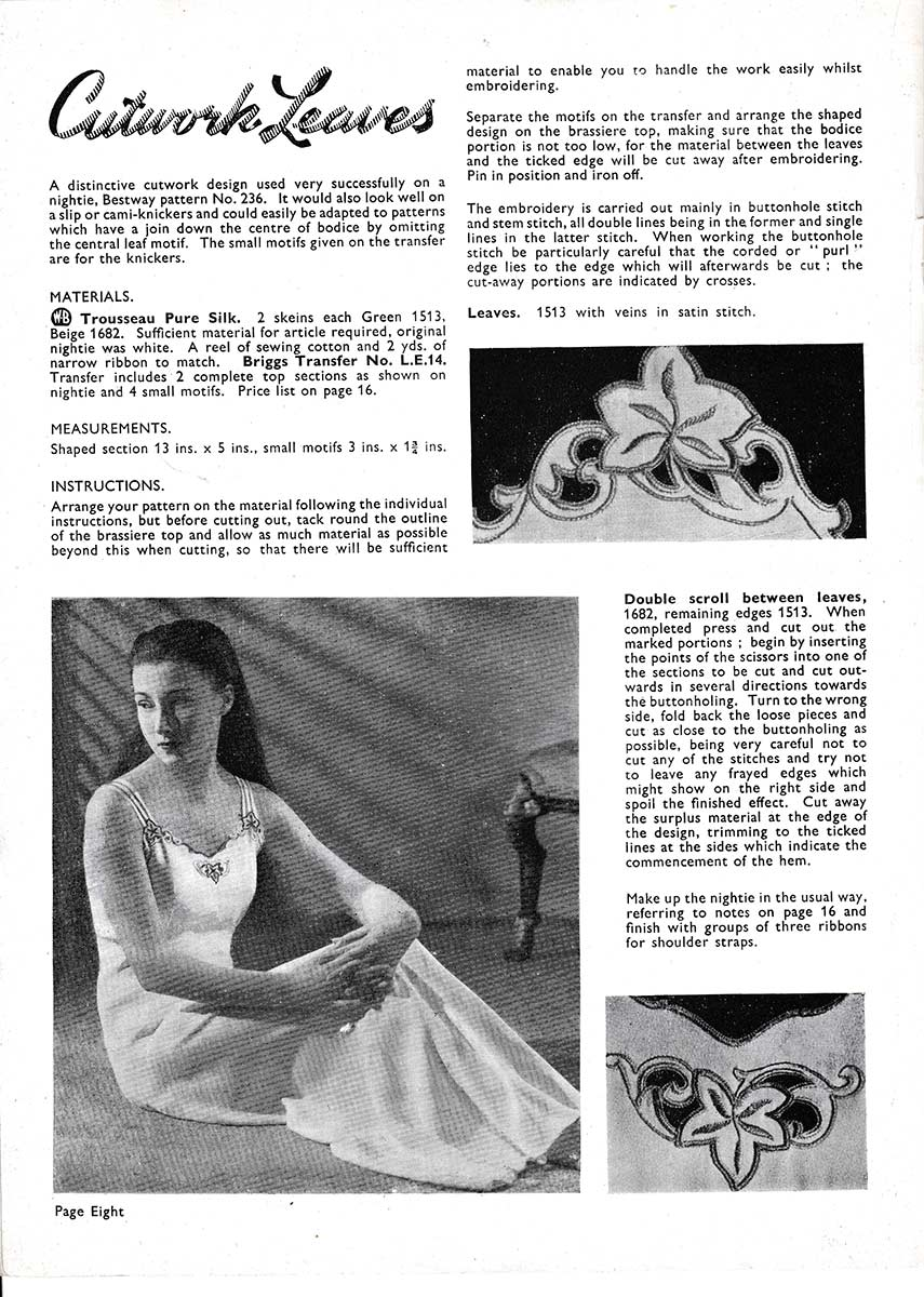 Lingerie Embroidery Designs Catalogue by Briggs Transfers - The Underpinnings Museum