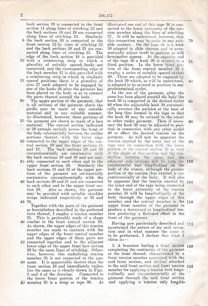 Brassiere US Patent no. 236,237 by Waldemar Kops. The Underpinnings Museum