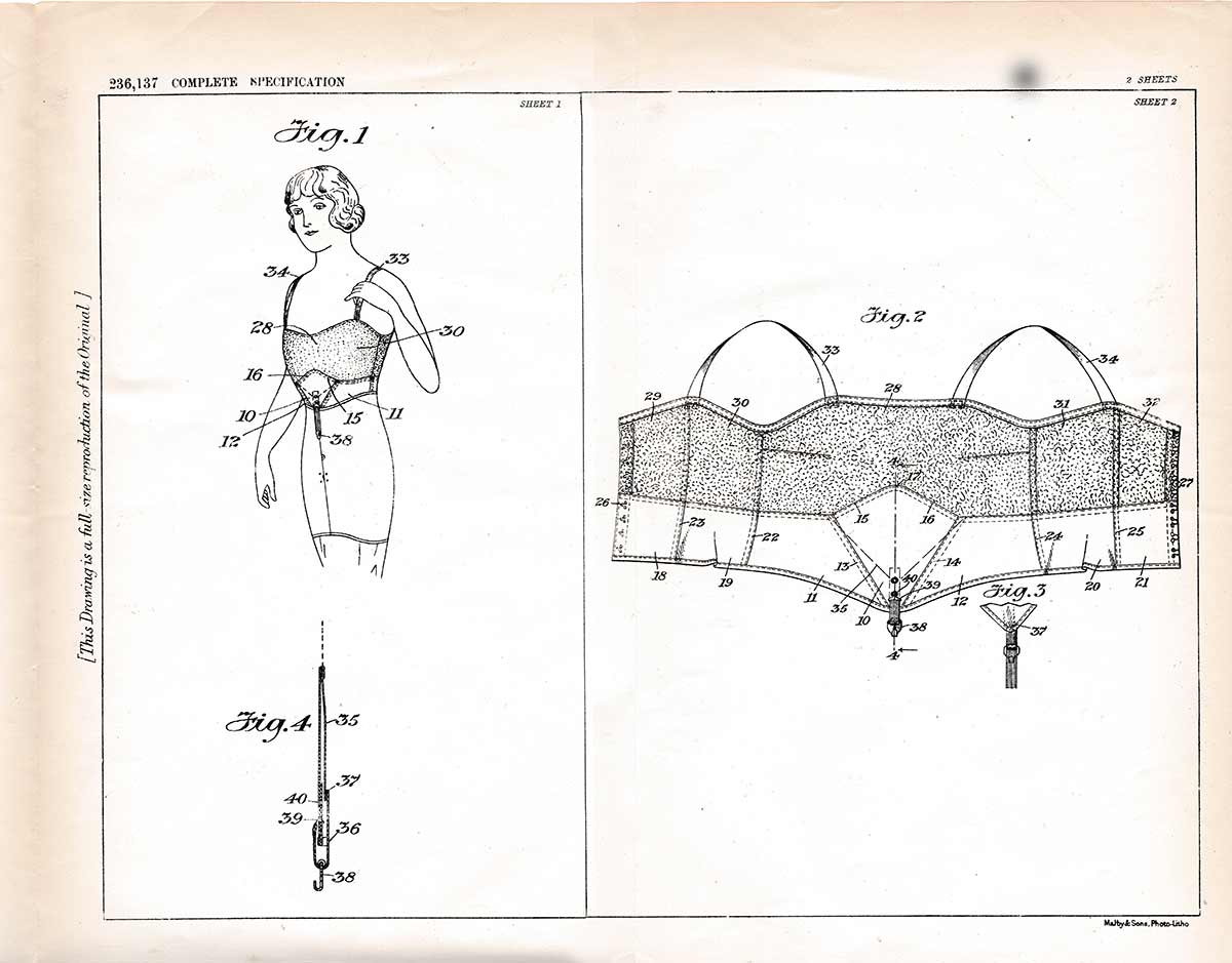 Brassiere US Patent no. 236,237 by Waldemar Kops. The Underpinnings Museum