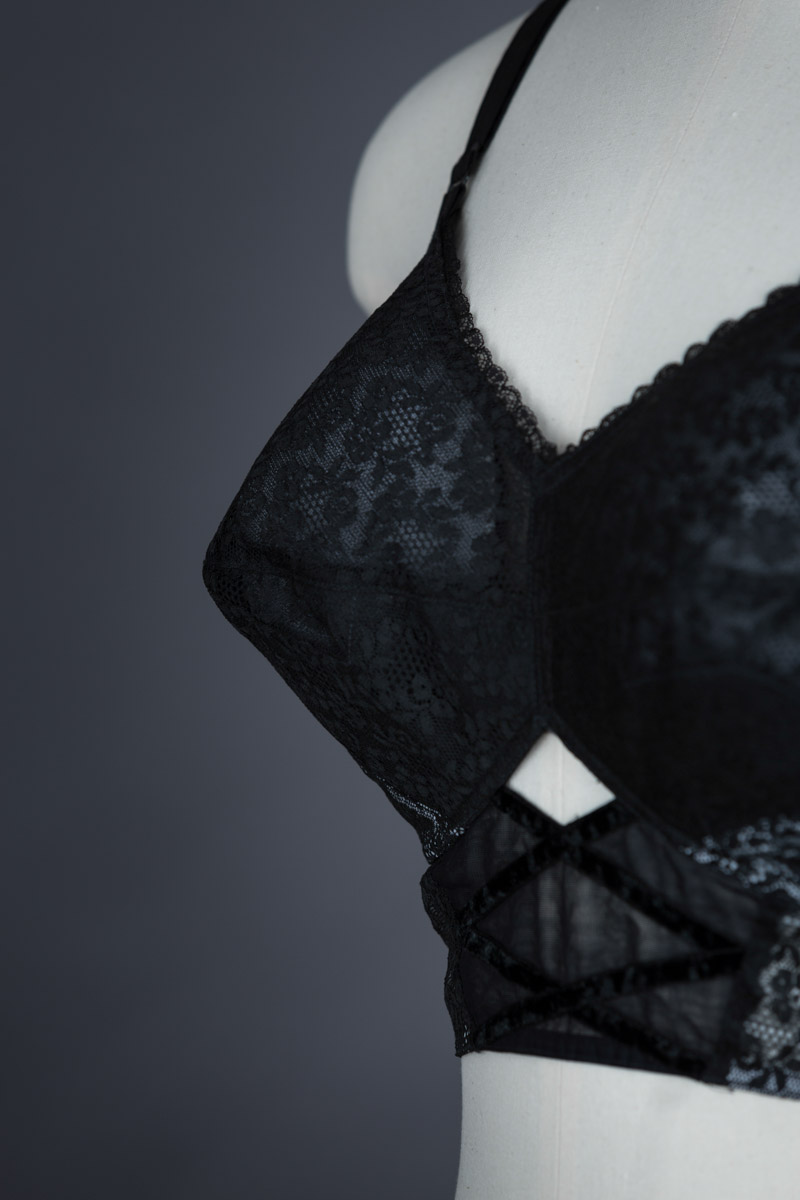 Lace And Velvet Trim Longline Bra By Christian Dior, c. 1950s The Underpinnings Museum shot by Tigz Rice Studios 2017