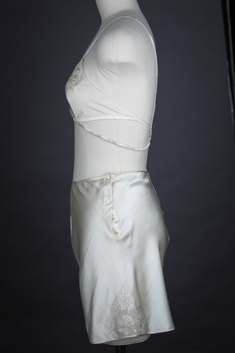 Embroidered Silk Kestos Style Bra & Tap Pant Set, c. early 1930s The Underpinnings Museum shot by Tigz Rice Studios 2017