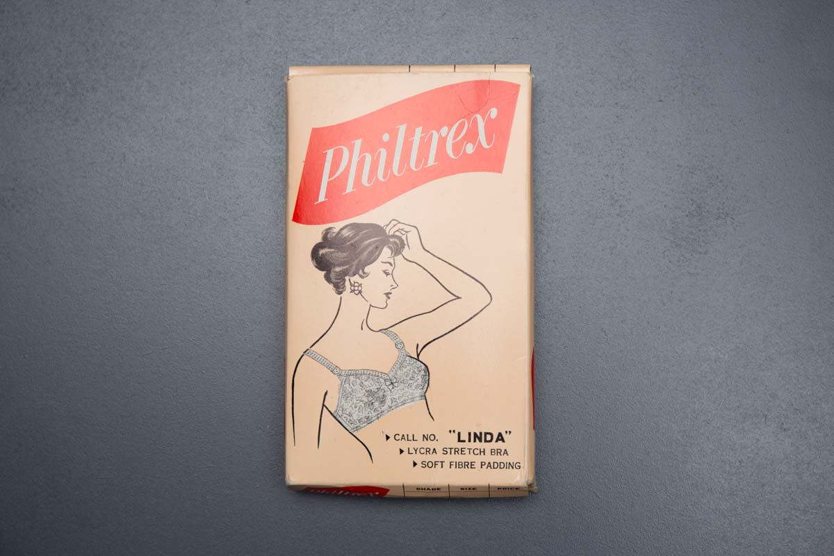 Quilted Padding & Elastic Bra By Philtrex, c. 1960s The Underpinnings Museum shot by Tigz Rice Studios 2017
