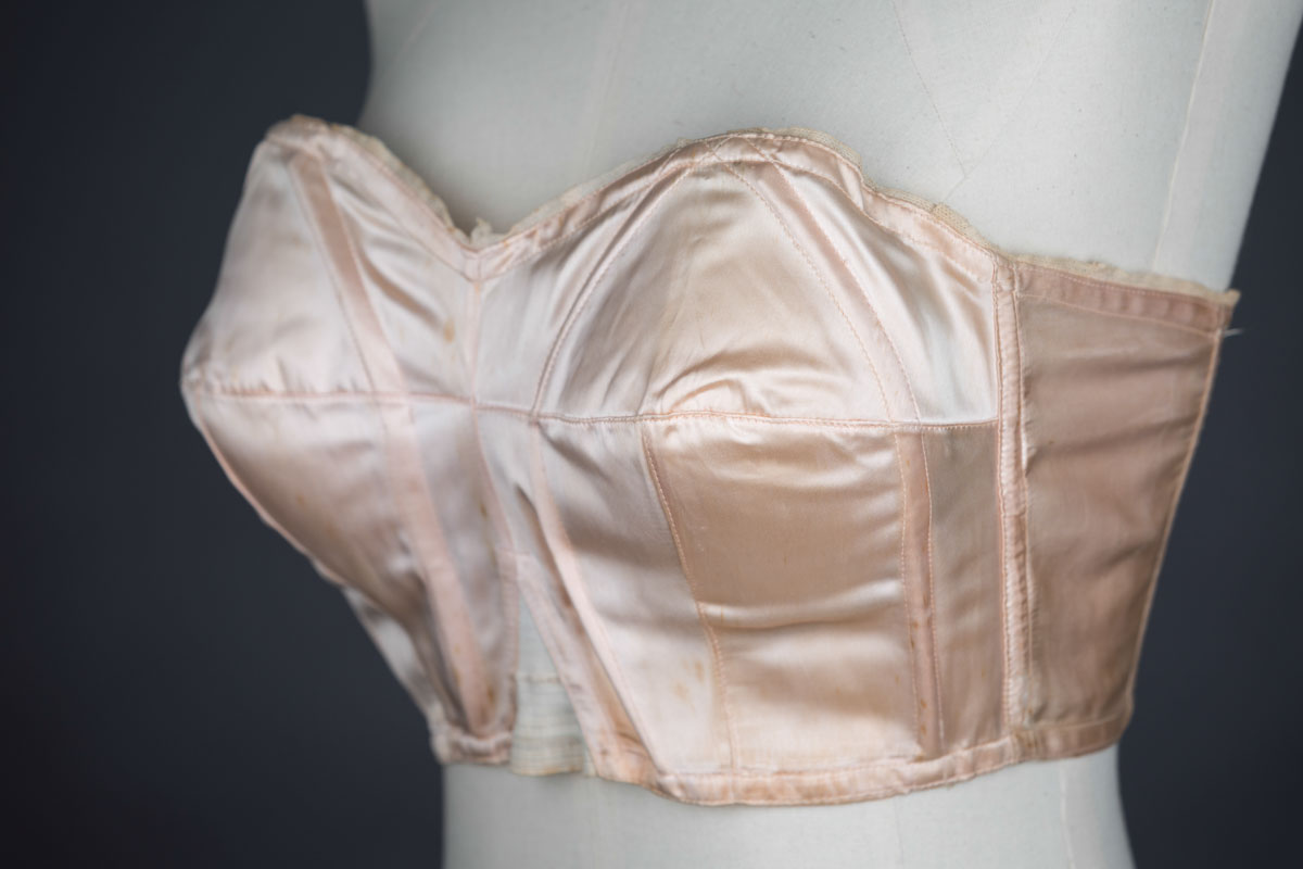 Satin Cathedral Bra With Celluloid Boning By Rita Ro, c. 1930s The Underpinnings Museum shot by Tigz Rice Studios 2017
