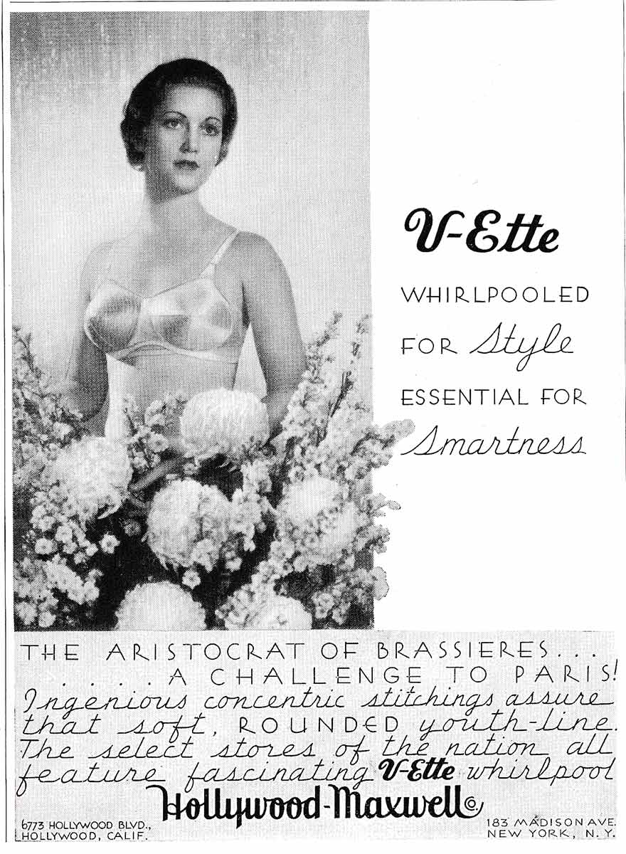 Hollywood Maxwell 'V-Ette' Whirlpool Stitch Bra Advert, c. 1935, USA, The Underpinnings Museum