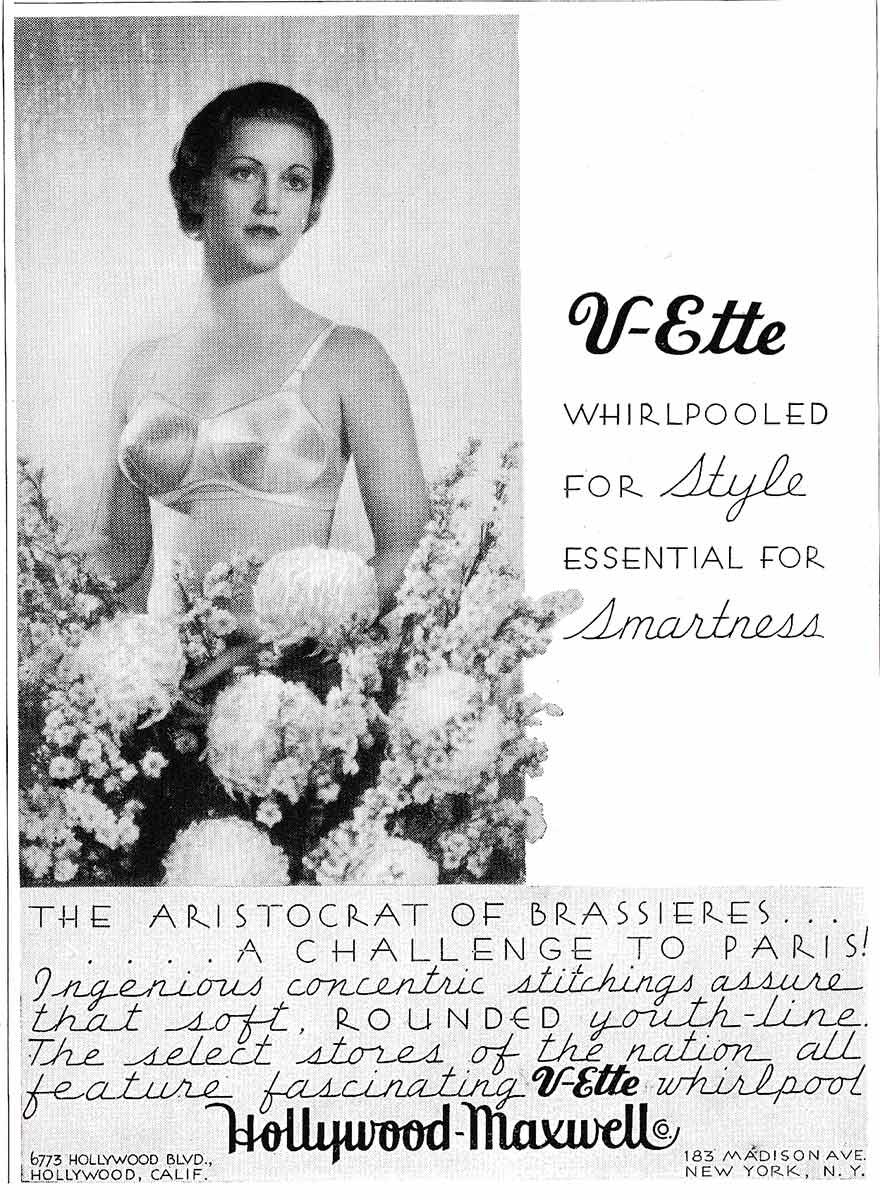 Hollywood Maxwell 'V-Ette' Whirlpool Stitch Bra Advert, c. 1935, USA