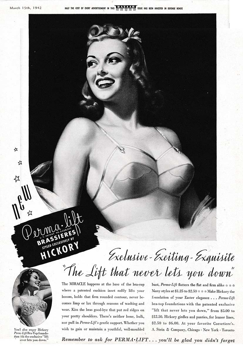 Perma-Lift 'Hickory' Brassiere Advert, 1942, USA.