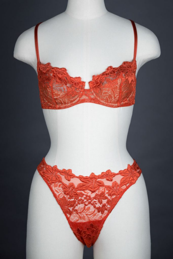 Stretch And Guipure Lace Underwire Bra & High Cut Brief By La Perla, c. 1995 The Underpinnings Museum shot by Tigz Rice Studios 2017