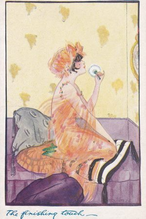 'The Finishing Touch' Boudoir Postcard By The Photochrom Co., c. 1920s, The Underpinnings Museum collection