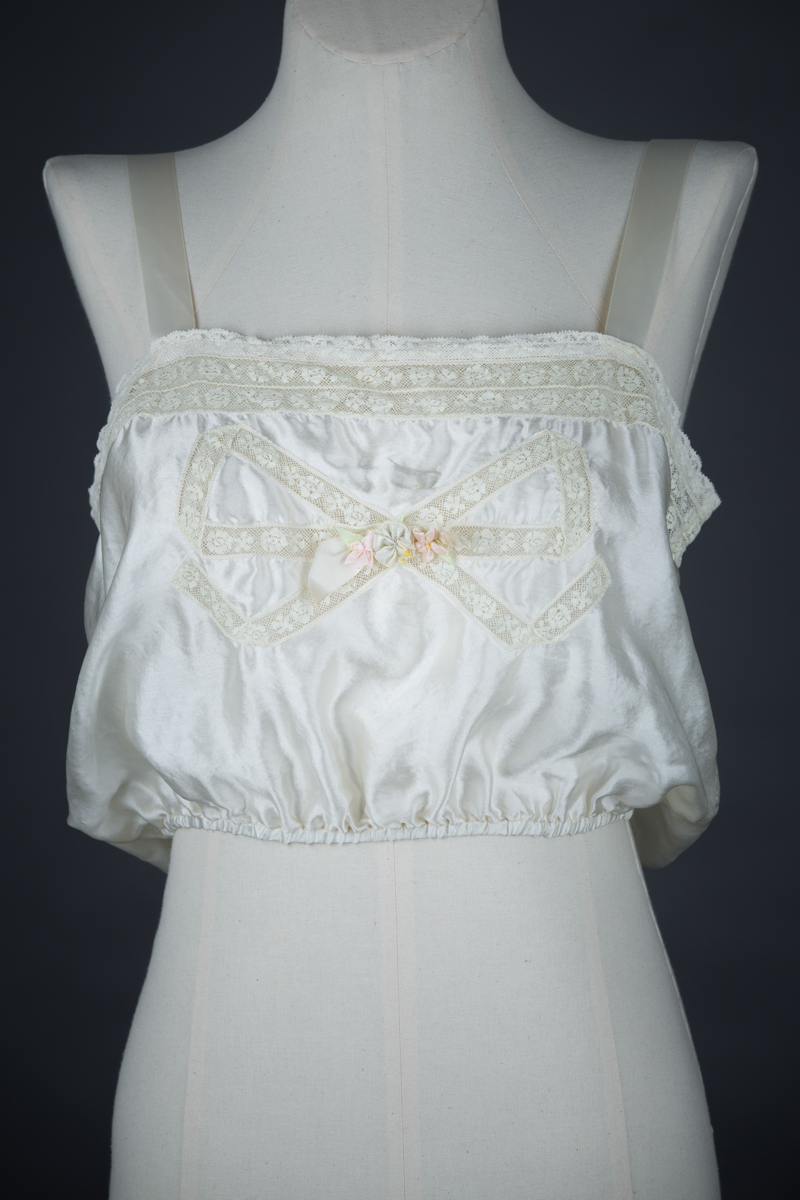 Bow Lace Insertion & Ribbonwork Silk Camisole, c. 1920s, USA Photography by Tigz Rice Studios. From The Underpinnings Museum collection.