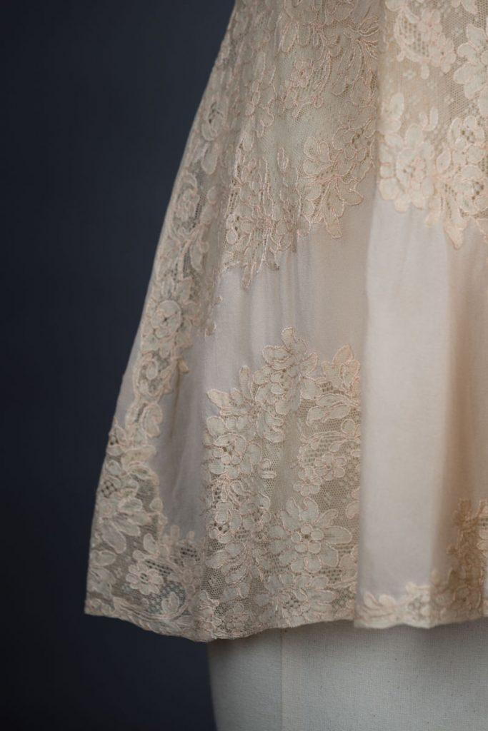 Silk & Lace Appliqué Trousseau Short Slip, c. 1930s, Great Britain Photography by Tigz Rice Studios. From The Underpinnings Museum collection.