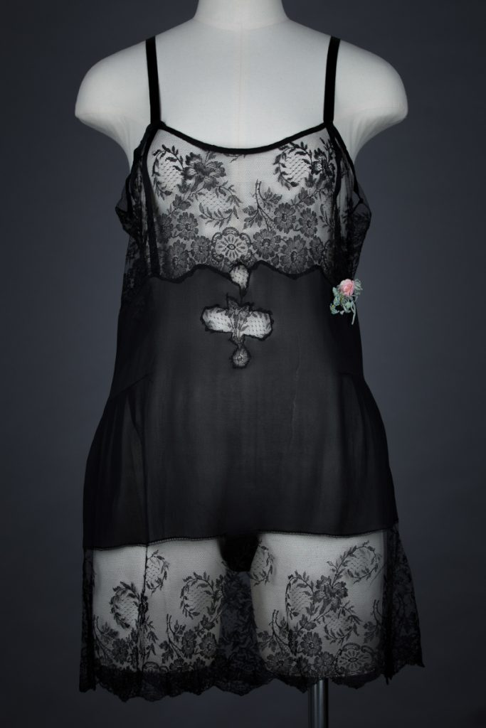 Black Silk & Lace Ribbonwork Step In, c. 1920s, USA. The Underpinnings Museum Photo by Tigz Rice