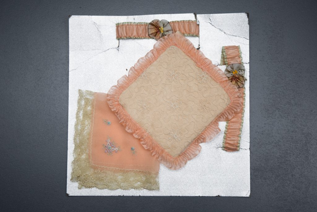 Silk Ribbon Garter & Embroidered Handkerchief Gift Set, c. 1920s, USA. The Underpinnings Museum. Photo by Tigz Rice