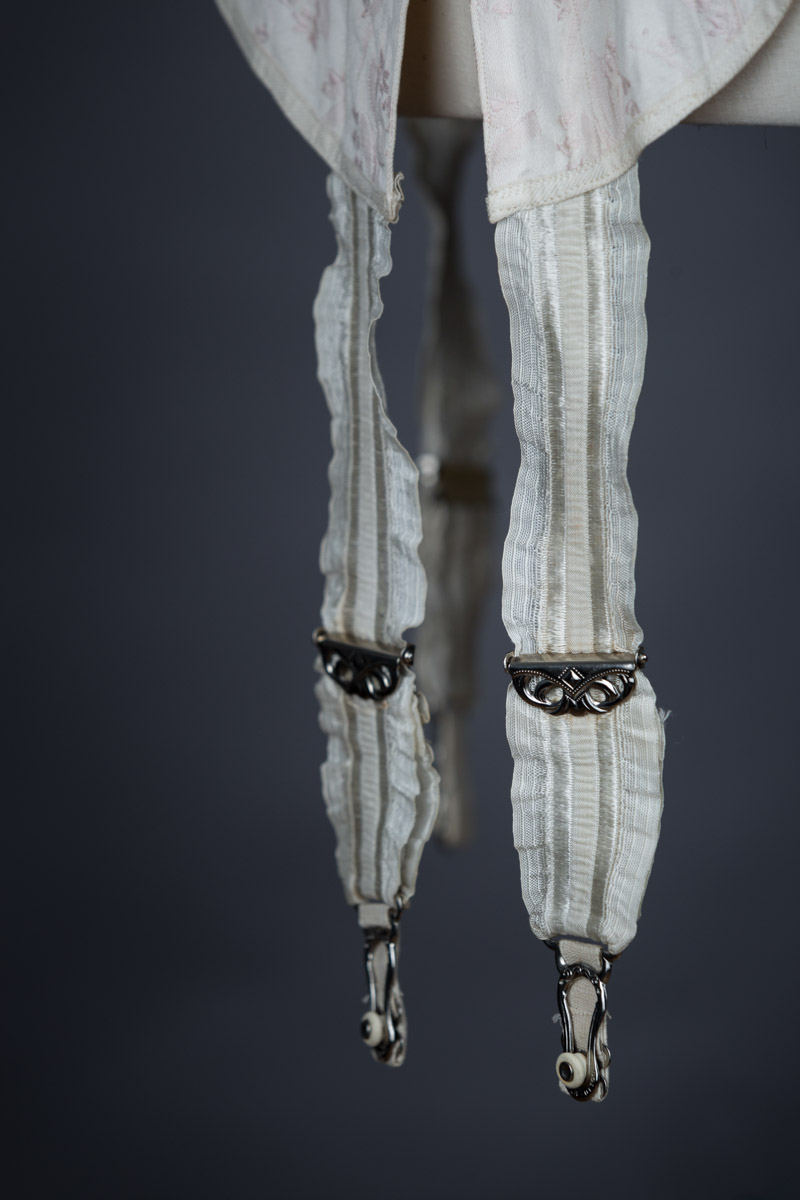Floral Brocade Coutil Corset With Suspenders & Lace Trim By K&S, c. 1910s, Sweden. The Underpinnings Museum. Photography by Tigz Rice