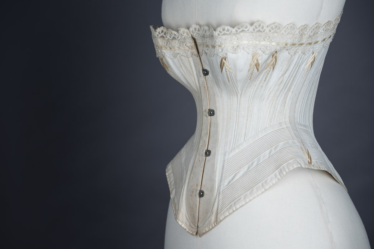 Corded corset with flossing embroidery by S&S, c. late 1880s, Great Britain From The Underpinnings Museum collection Photography by Tigz Rice