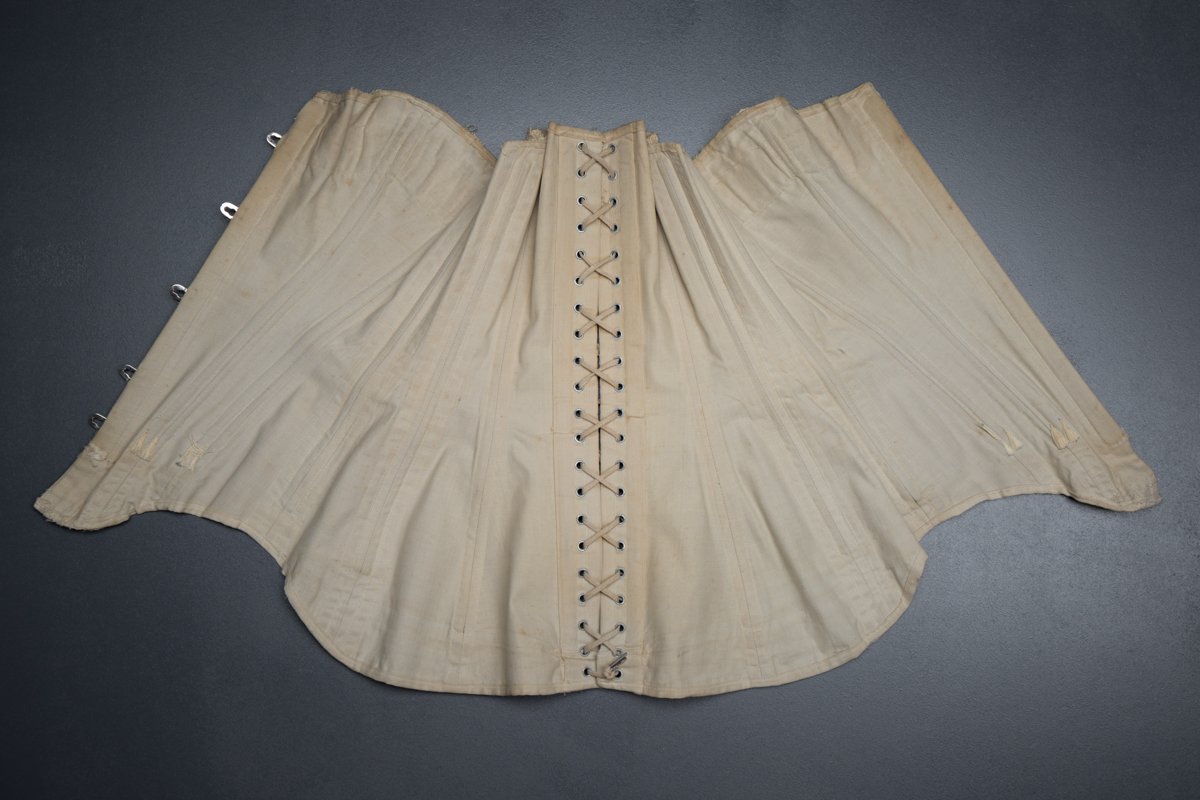 Cotton corset with cording and exposed spiral steel boning, c. 1900-5, Denmark. From The Underpinnings Museum collection. Photography by Tigz Rice