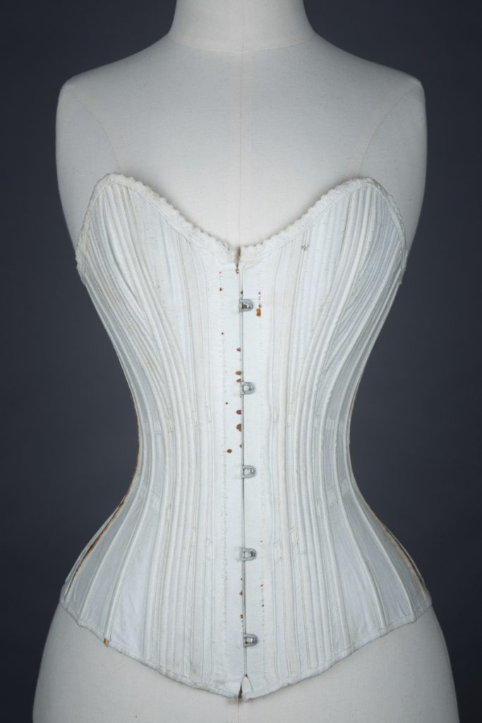 Sweetheart Bustline Cane Boned Cotton Corset, c.1890s, origin unknown. From The Underpinnings Museum collection Photography by Tigz Rice