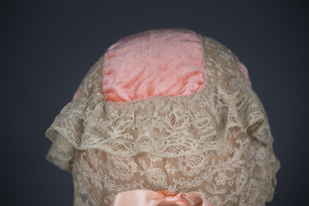 Coral Pink Silk Velvet, Embroidered Tulle & Leavers Lace Boudoir Cap, c.1910s, GB. The Underpinnings Museum, Photo by Tigz Rice