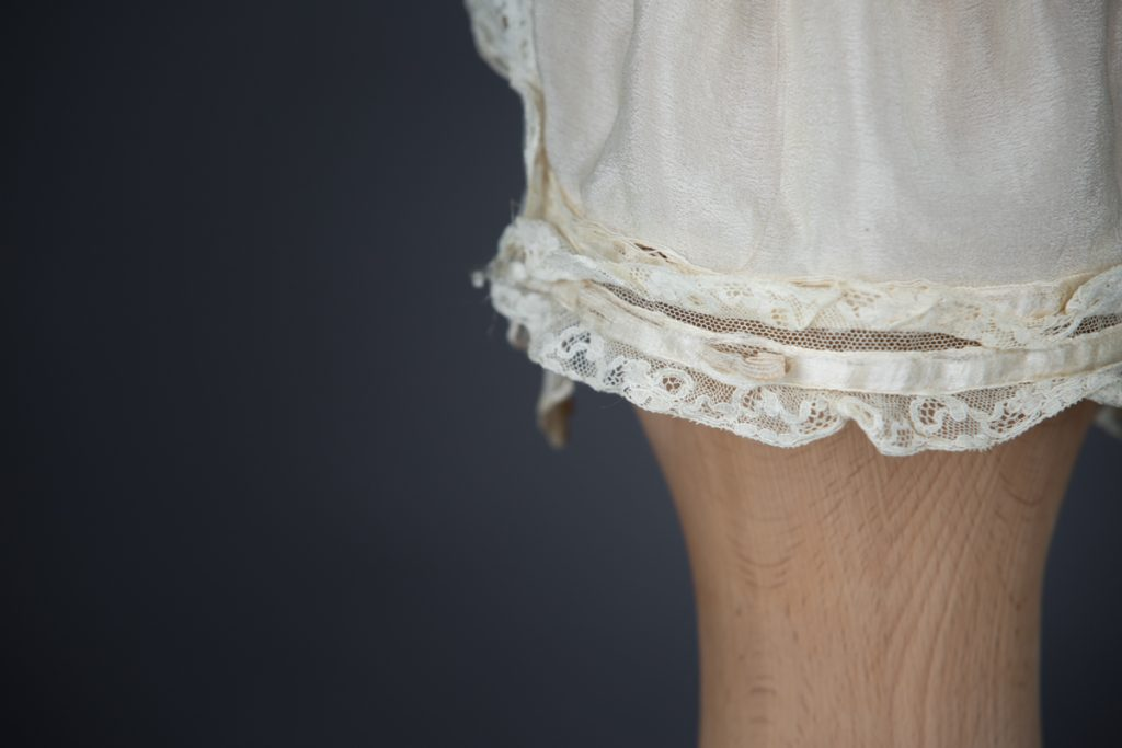 Ivory Silk Crepe & Lace Ruffle Boudoir Cap, c. 1910s, GB, The Underpinnings Museum, Photo by Tigz Rice