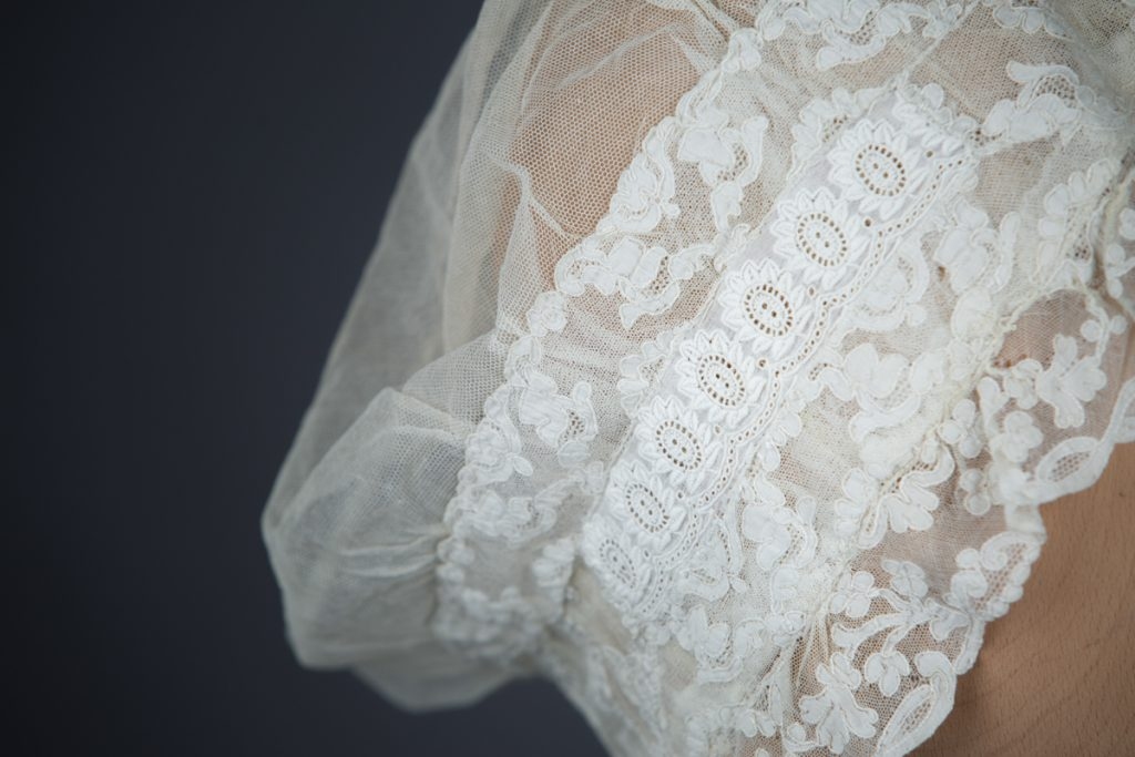Ivory Tulle & Lace Boudoir Cap c. 1890s, Great Britain. The Underpinnings Museum, photography by Tigz Rice