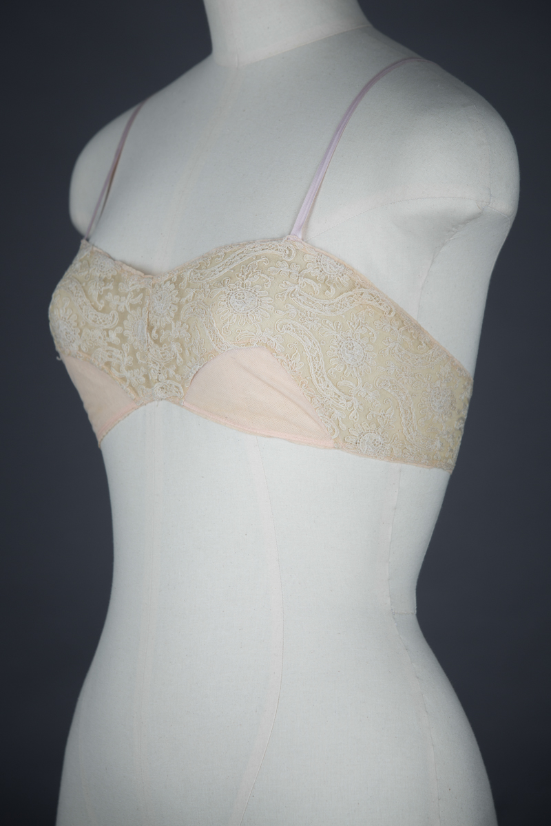 Schiffli Embroidery & Cotton Tulle Bandeau Bra, c. 1920s, GB. The Underpinnings Museum. Photo by Tigz Rice