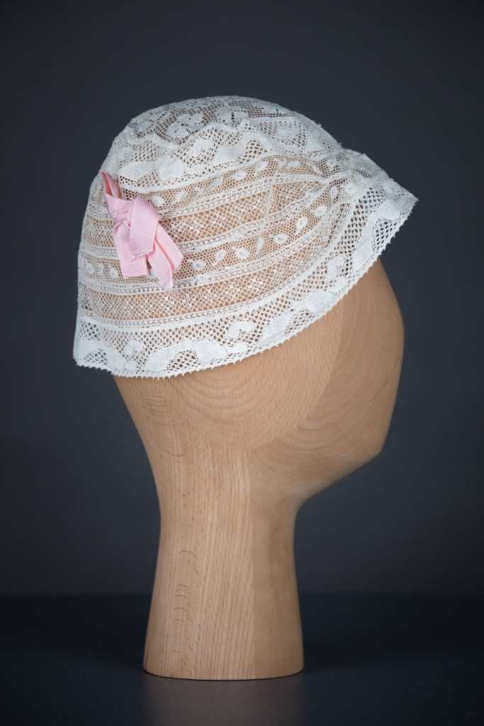 Cotton Leavers Lace & Silk Bow Boudoir Cap, c.1920s, UK. The Underpinnings Museum. Photography by Tigz Rice