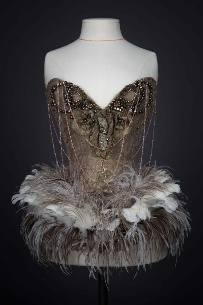 'Jonah' Silk & Feather Overbust Corset By Sparklewren. The Underpinnings Museum. Photography by Tigz Rice
