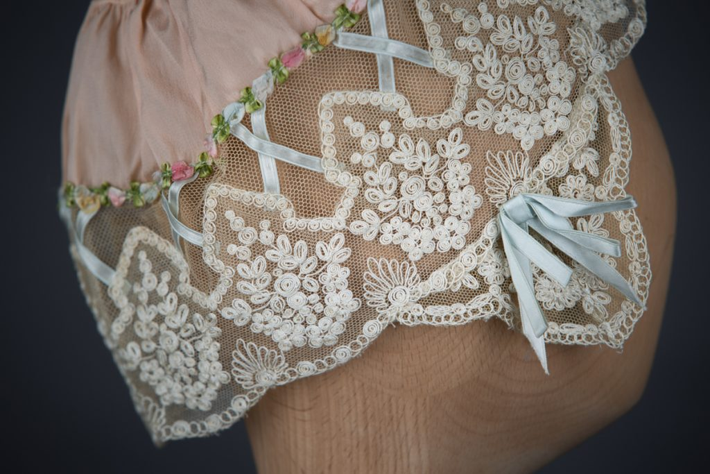 Silk & Schiffli Embroidery Boudoir Cap With Ribbon Lattice, c. 1920s, UK. The Underpinnings Musuem. Photography by Tigz Rice