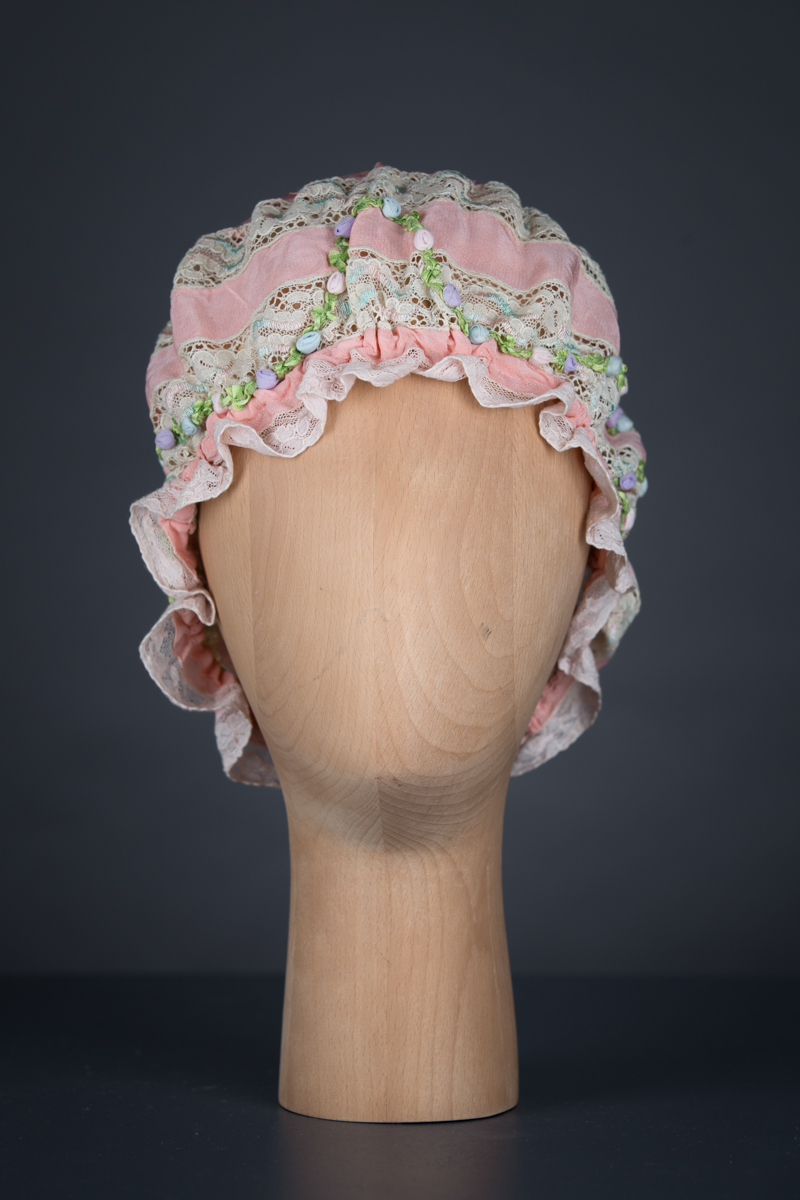 Silk Crepe & Insertion Lace Boudoir Cap With Silk Ribbonwork & Pin Tucks, c.1920s, UK. The Underpinnings Museum. Photography by Tigz Rice
