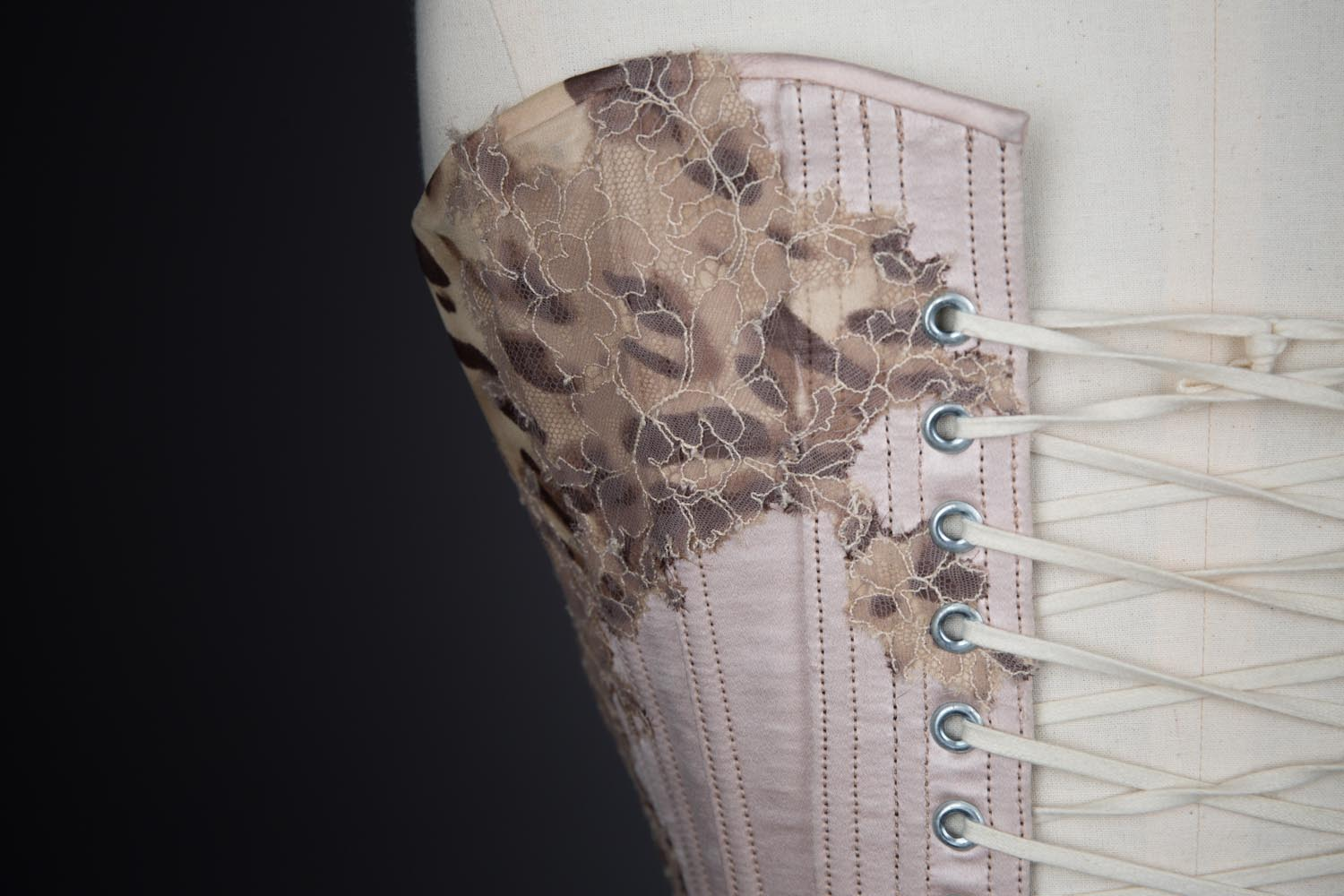 'Strawberry Leopard' Silk Overbust Corset By Sparklewren. The Underpinnings Museum. Photography by Tigz Rice