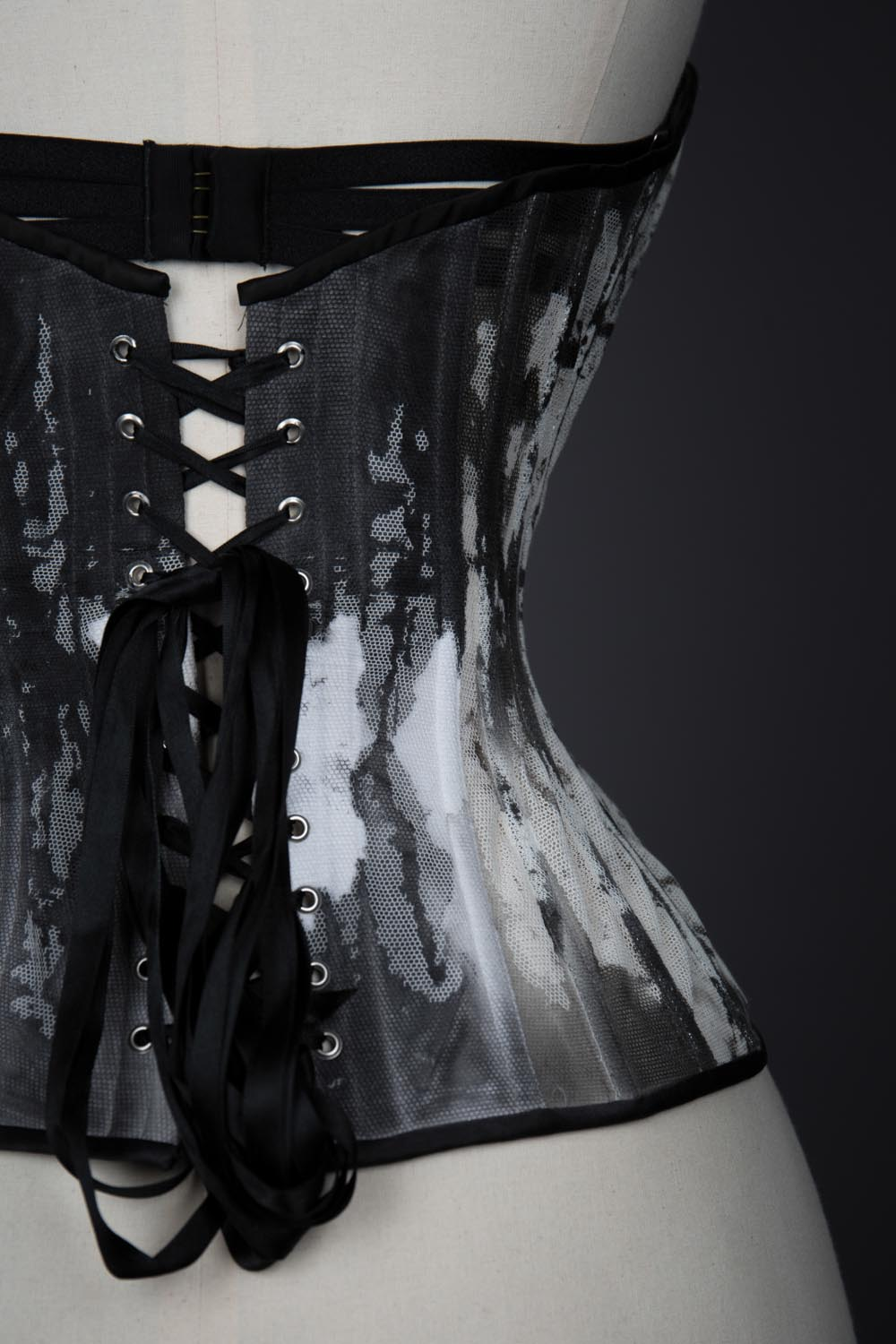 Ink Bobbinet Tulle Cupped Corset By Karolina Laskowska. The Underpinnings Museum. Photography by Tigz Rice