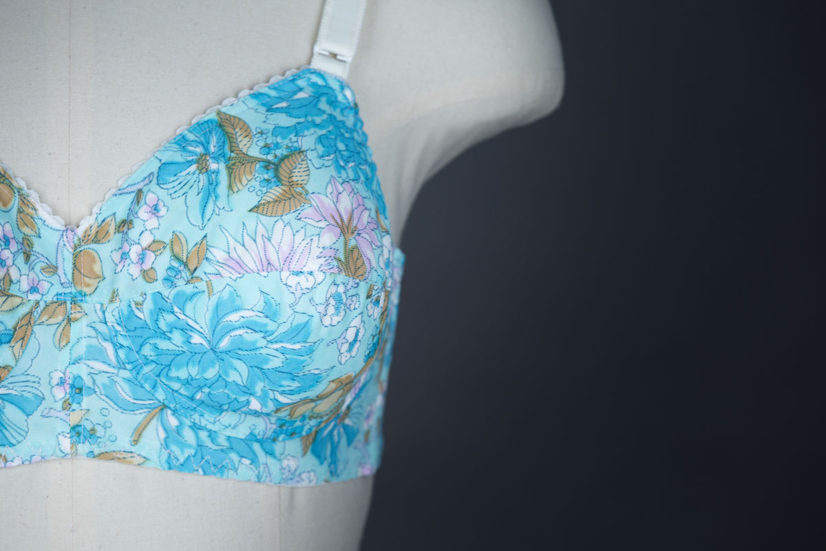 Floral Printed Powernet Bra By St. Michael, c. 1970s, UK. The Underpinnings Museum. Photography by Tigz Rice
