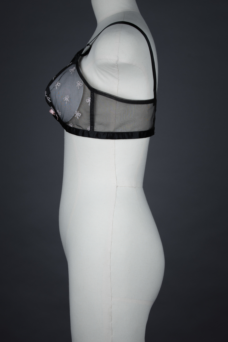 Bow Embroidered Tulle Bra With Overbust Bones By 'Cheers' By Harriette Ross, c. 1954, USA. The Underpinnings Museum. Photography by Tigz Rice