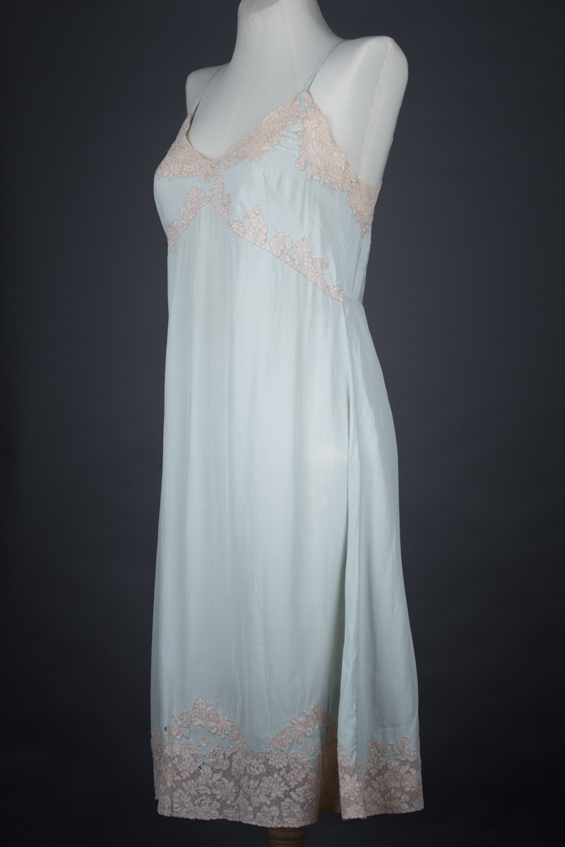 Eau De Nil Silk Crepe & Lace Appliqué Slip, c. 1930s, Great Britain. The Underpinnings Museum. Photography by Tigz Rice
