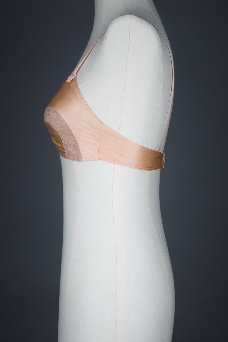 Peach Silk & Horseshoe Lace Insert Bra, c. 1930s, USA. The Underpinnings Museum. Photography by Tigz Rice
