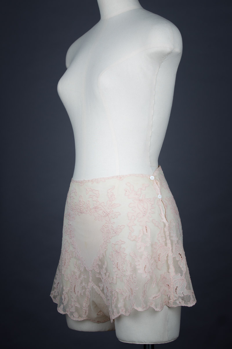 Bobbinet Tulle & Silk Georgette Appliqué Tap Pants, c. 1930s, Great Britain. The Underpinnings Museum. Photography by Tigz Rice.