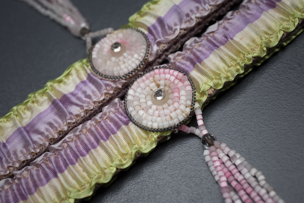 Striped Silk Ribbon Garters With Beaded Tassels, c. 1930s, Great Britain. The Underpinnings Museum. Photography by Tigz Rice