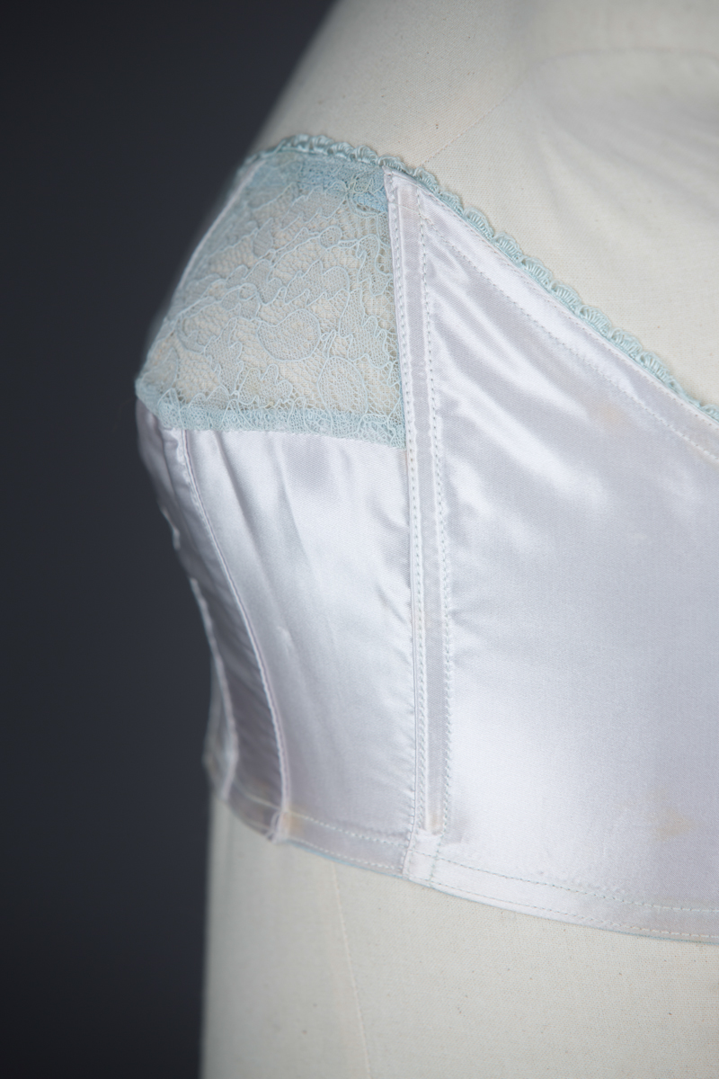 Pale Blue Satin Cathedral Bra By St. Michael, c. 1950s, Great Britain. The Underpinnings Museum. Photography by Tigz Rice