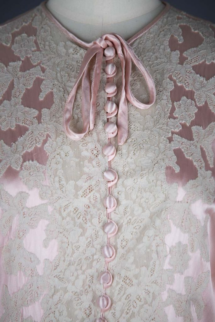 Rayon Satin & Lace Appliqué Full Sleeve Dressing Gown, c.1940s, Great Britain. The Underpinnings Museum. Photography by Tigz Rice