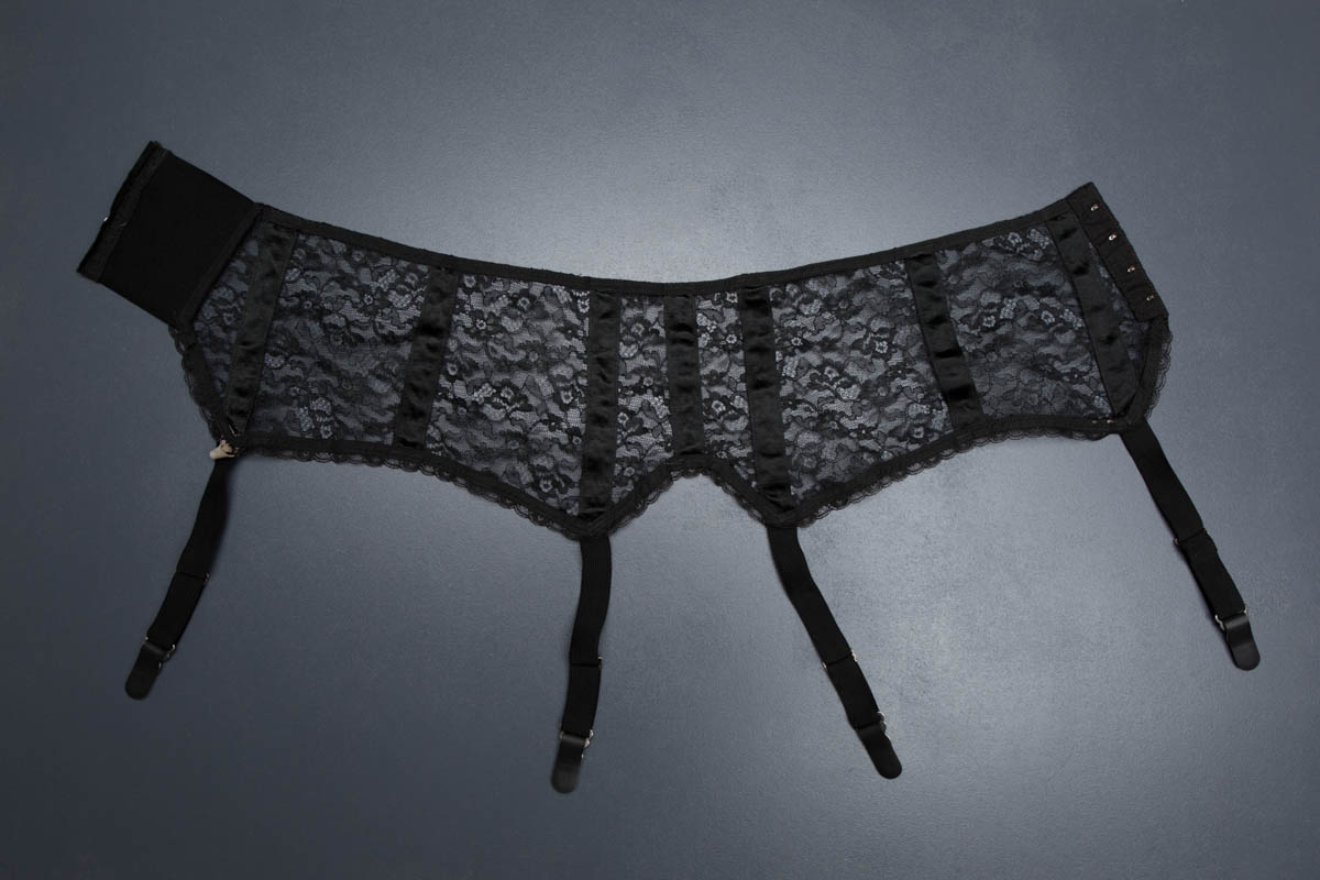 Black Nylon Lace Suspender Belt By Snap, c. 1950s, USA. The Underpinnings Museum. Photography by Tigz Rice