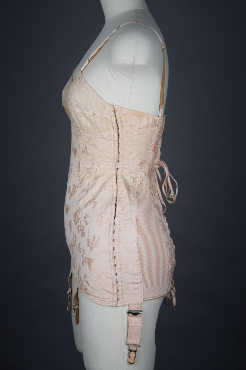 Embroidered Tulle & Brocade Coutil Corselet By Spirella, c. 1940s, Great Britain. The Underpinnings Museum. Photography by Tigz Rice