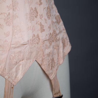 Pointed Tea Rose Brocade Coutil Girdle With Side Lacing, c. 1930s, France. The Underpinnings Museum. Photography by Tigz Rice